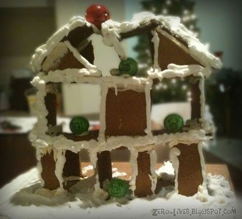 "During last year's Angry Birds iPhone/iPad/Android craze, blogger Shane Parker baked this representational gingerbread house. Fittingly, he writes, ""given the nature of the game (and my amateur baking skills) the house was doomed to a crashing finish."""