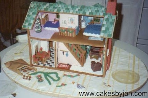 Here's a detailed dollhouse gingerbread house from Bangor, Maine, bakery Cakes by Jan.