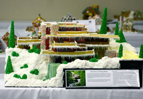 Last year, the couple behind the blog Garden Melodies spent more than 40 hours building and decorating a gingerbread version of Fallingwater, Frank Lloyd Wright's most famous work. They used more than 12 square feet of gingerbread dough and eight bags of powdered sugar for the frosting.