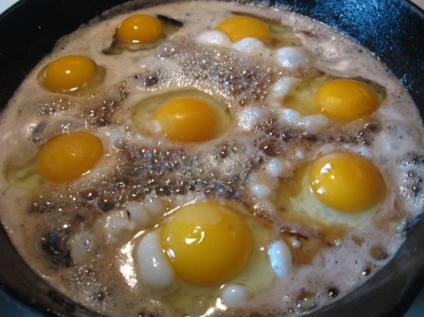 Frying pan of eggs